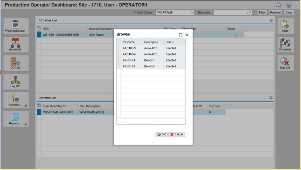 Production Operator Dashboard: Select