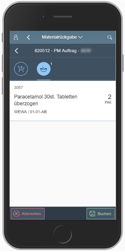 SAP MM App: Rückgabe