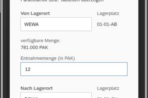 SAP MM App: Umlagerung