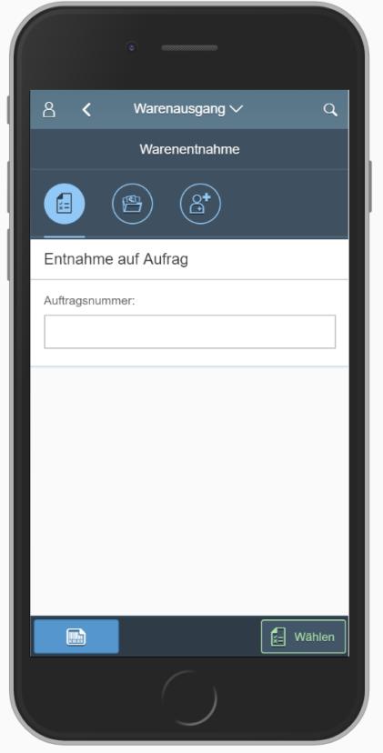 SAP MM App: Entnahme auf Auftrag