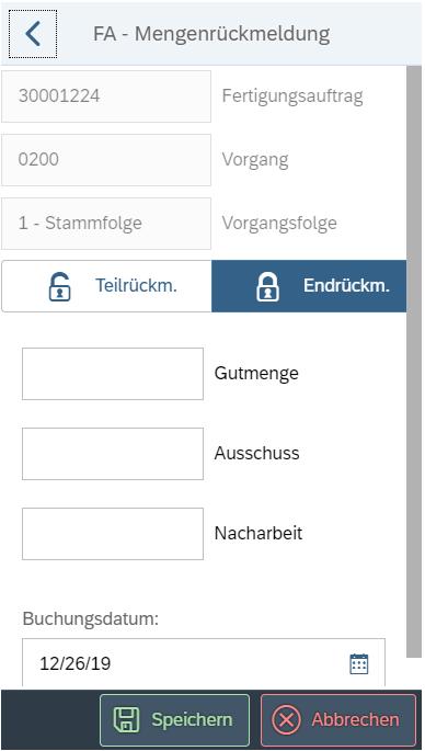 Mobile Datenerfassung in der Produktion: FA - Mengenrückmeldung mit der SAP PP App