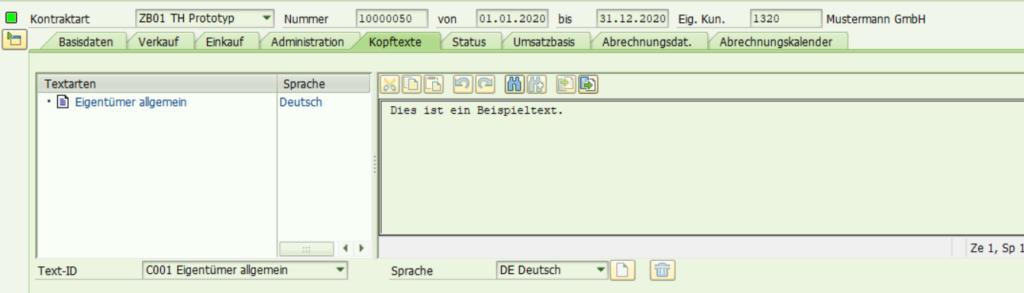 Bearbeiten eines Konditionskontrakts mit der SAP Transaktion WCOCO: Kopftexte.