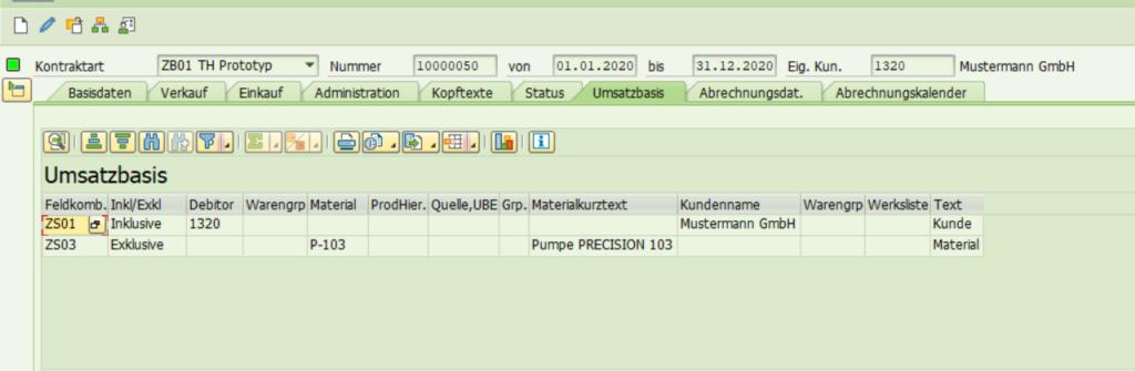 SAP Transaktion WCOCO: Einträge in der Umsatzbasis.