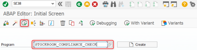 Compatibilitycheck Stock Room Management: ABAP Editor Initial Screen