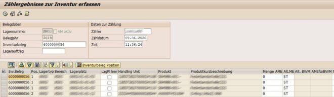Inventur in SAP EWM - Zählergebnisse zur Inventur erfassen