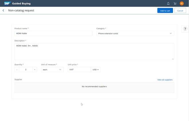 Ariba Guided Buying: Non catalog request erstellen