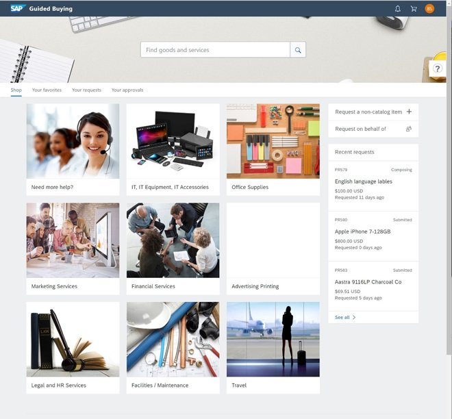 Ariba Guided Buying Startbildschirm